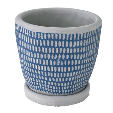 Cement Planter with Saucer - Dot Blue