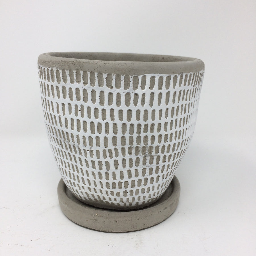 Cement Planter with Saucer - Dot White