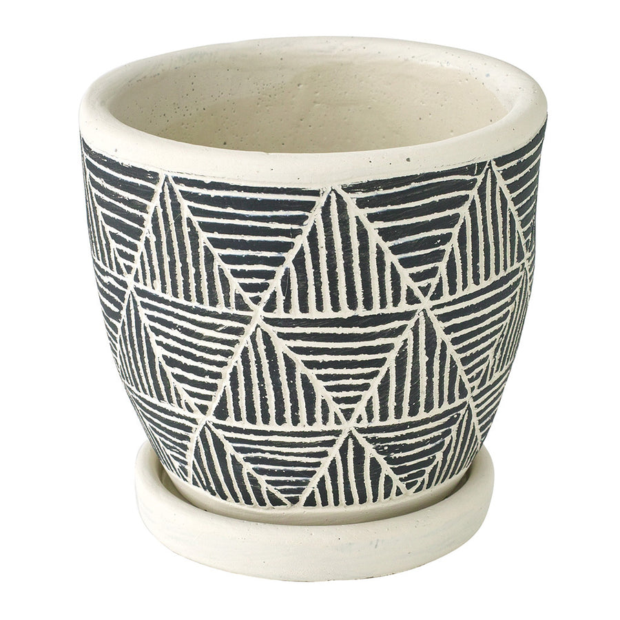 Cement Planter with Saucer - Triangle Black