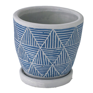 Cement Planter with Saucer - Triangle Blue