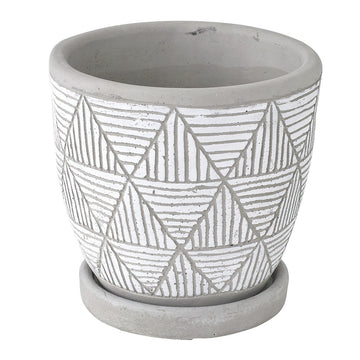 Cement Planter with Saucer - Triangle White