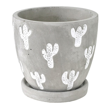 Cement Planter with Saucer - Cactus Large