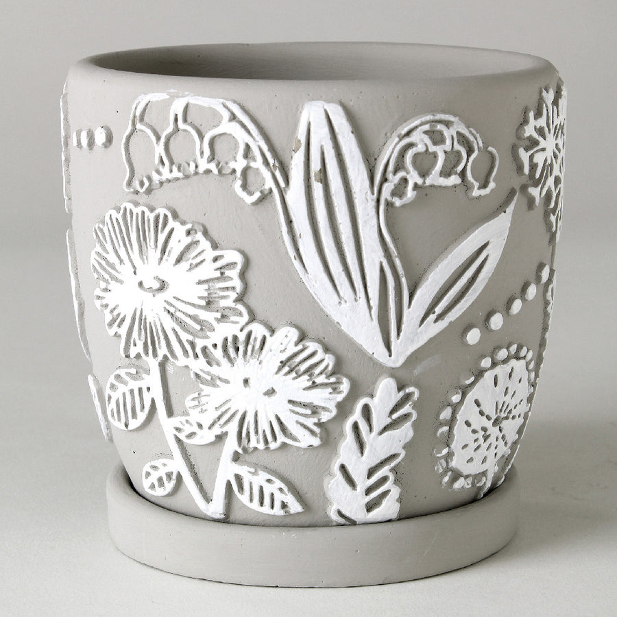 Cement Planter with Saucer - Flower Grey