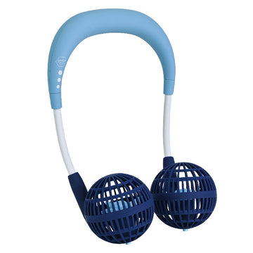 Hands-Free Wireless W Fan for Kids Ages 6 to 12 - Blue