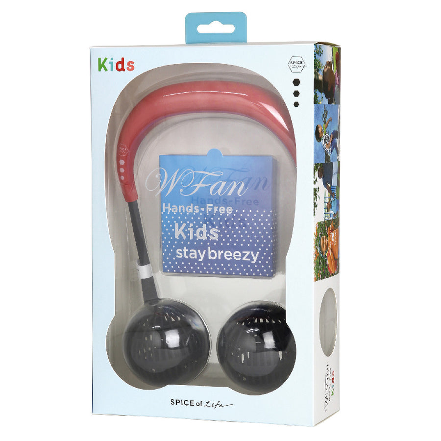 Hands-Free Wireless W Fan for Kids Ages 6 to 12 -Red