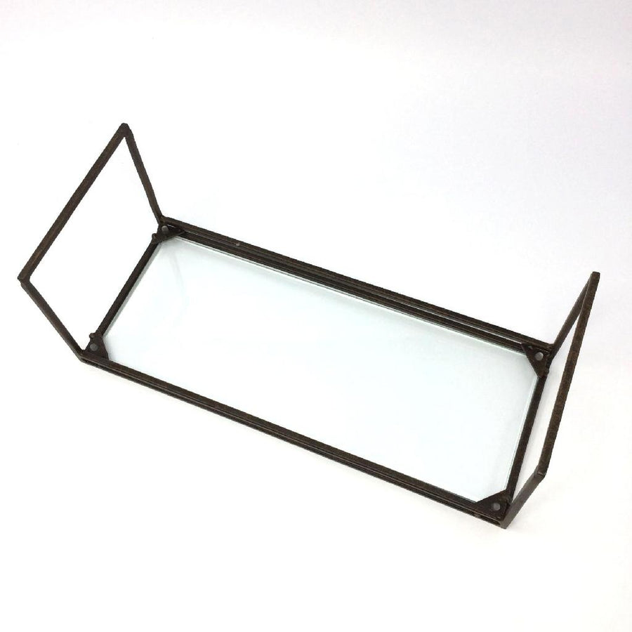 Iron Display Stand with Glass - Rect Small