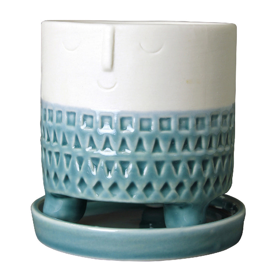 Happy Face Ceramic Planter Large Blue