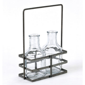 2 Glass Bottle with Iron Holder