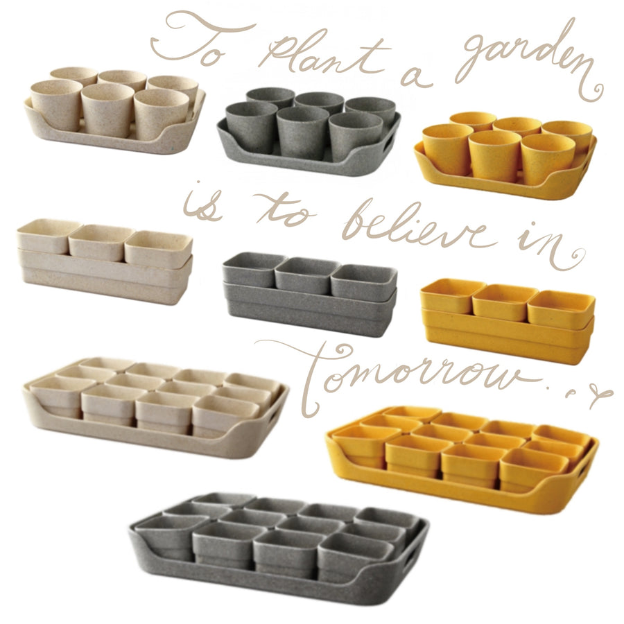 Eco Planter Herb 6 Pot with Tray – Sand Beige / 4 Sets