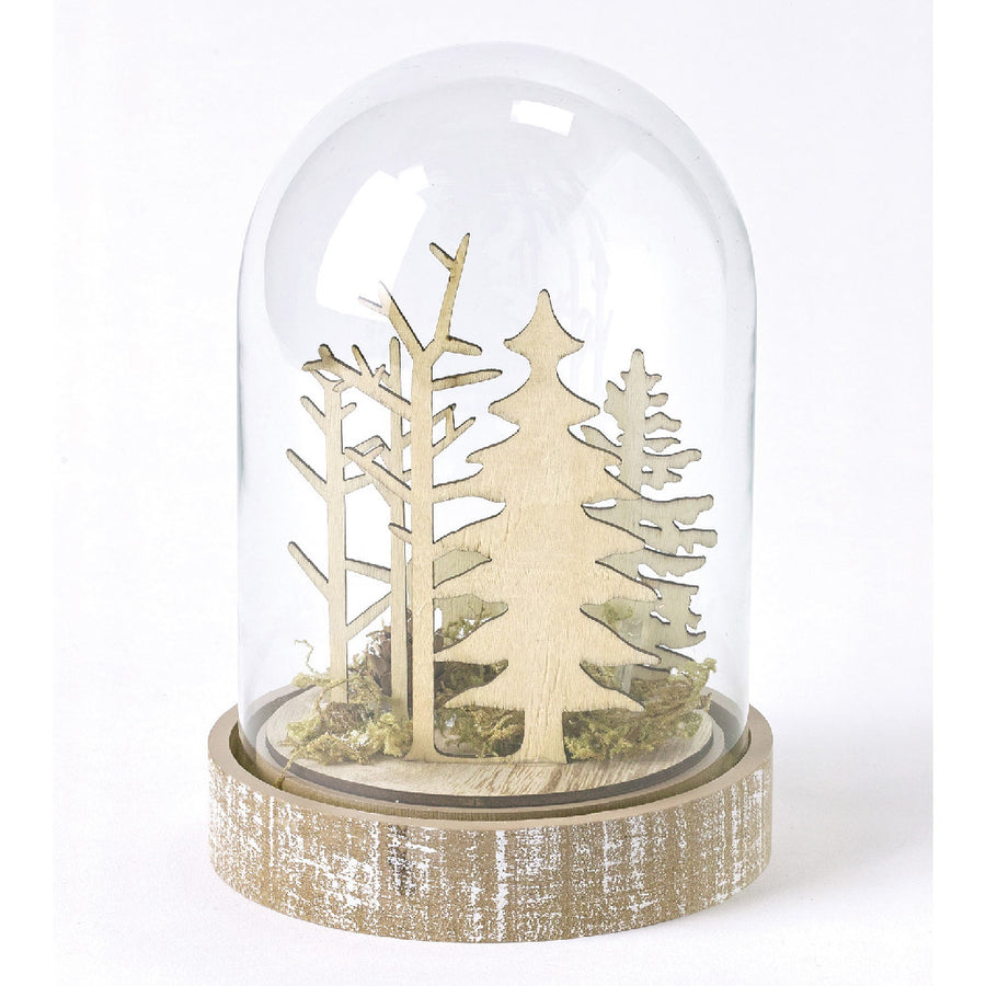 LED Light Dome - Battery-Operated Christmas Holiday Decor - Large Reindeer & Forest