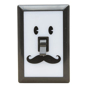 Smile Switch Battery-Powered LED Nightlight - Black Mustache Man