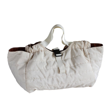 Quilted Shoulder Bag - White/Brown