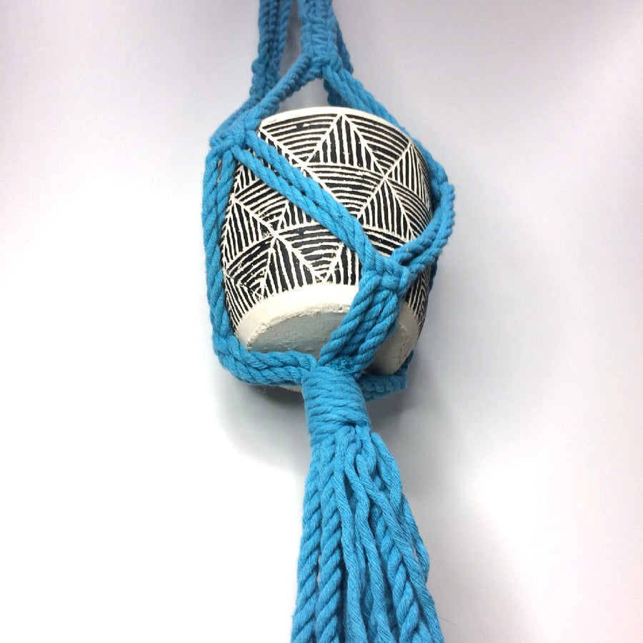 Macrame Plant Pot Hanger - Blue - Indoor/Outdoor Use (Planter Not Included)
