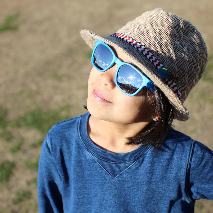 Children/Toddlers Fashion Sunglasses - Mirror, Blue - UV-Protected Summer Eyewear, Kids 4-14 Years