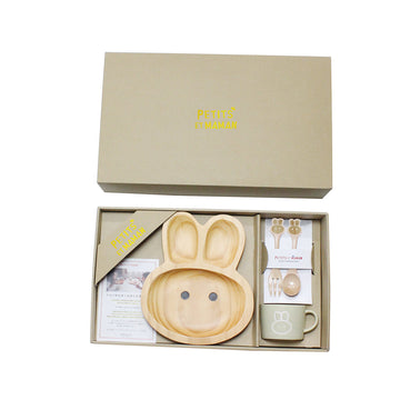 Wooden Dinnerware + Ceramic Mug Gift Set for Kids - Rabbit