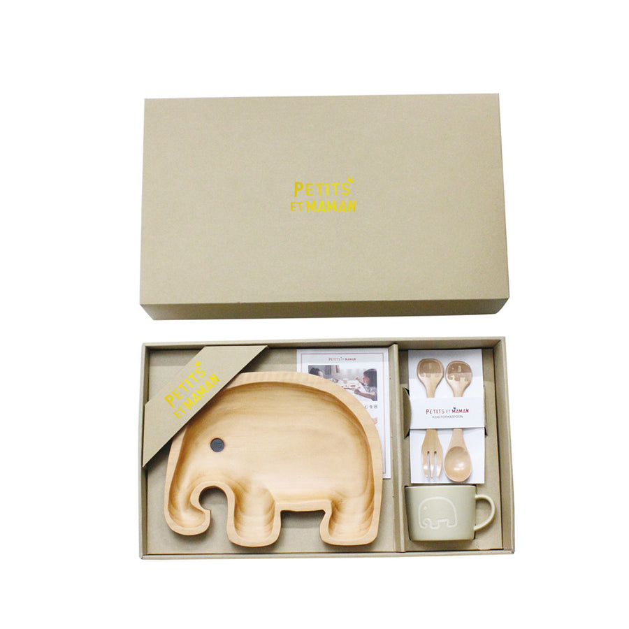 Wooden Dinnerware + Ceramic Mug Gift Set for Kids - Elephant