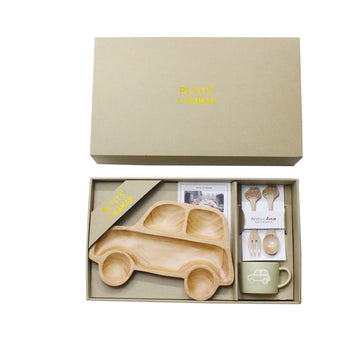 Wooden Dinnerware + Ceramic Mug Gift Set for Kids - Car