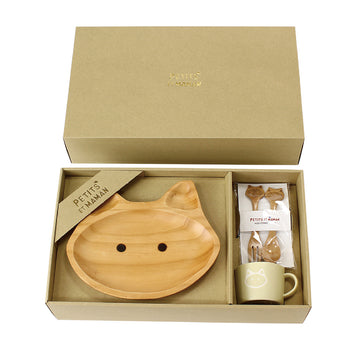 Wooden Dinnerware + Ceramic Mug Gift Set for Kids - Cat
