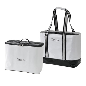 2 In 1 Cooler Tote Bag with Carry-On Container, Multipurpose - Grey