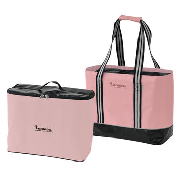 2 In 1 Cooler Tote Bag with Carry-On Container, Multipurpose - Pink