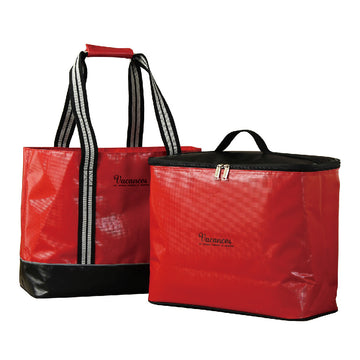 2 In 1 Cooler Tote Bag with Carry-On Container, Multipurpose - Red