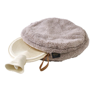 Comfy Cozy Fleece Round w/Water Bottle - Grey
