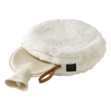 Comfy Cozy Fleece Round w/Water Bottle White