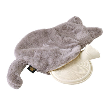 Comfy Cozy Fleece Cat w/Water Bottle Grey