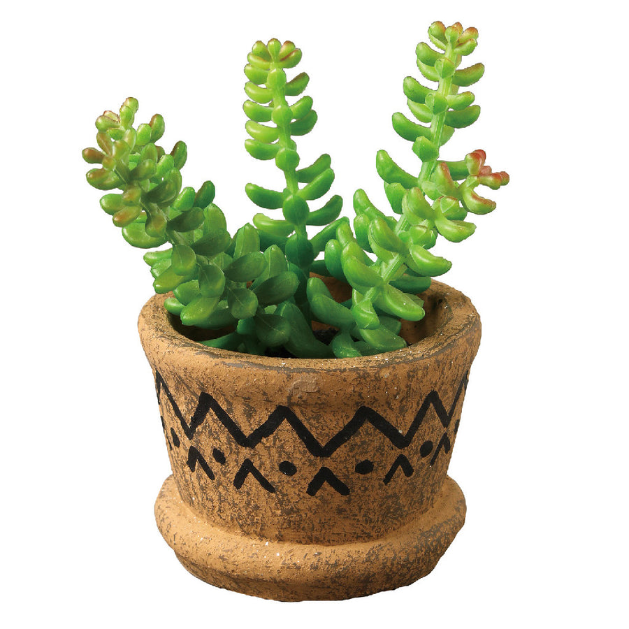Imitation Sedum in Tribal Pot 2 pcs set
