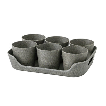 Eco Planter Herb 6 Pot with Tray – Black / 4 Sets