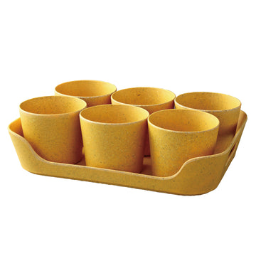 Eco Planter Herb 6 Pot with Tray – Yellow / 4 Sets