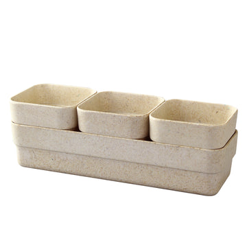 Eco Planter Herb 3 Pots with Tray - Sand Beige / 4 Sets