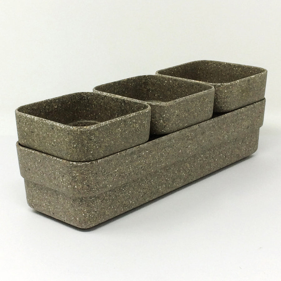 Eco Planter Herb 3 Pots with Tray – Black / 4 Sets