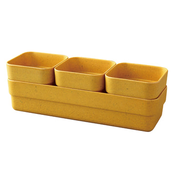 Eco Planter Herb 3 Pots with Tray – Yellow / 4 Sets