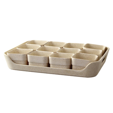 Eco Planter Herb 12 Pots with Tray – Sand Beige / 2 Sets