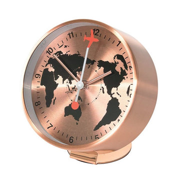 Bedside Analog Alarm Clock - Globe - Copper Finish, Round Frame