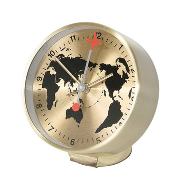 Bedside Analog Alarm Clock - Globe - Gold Finish, Round Frame
