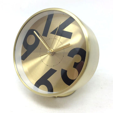 Bedside Analog Alarm Clock - Gold Finish, Round Frame