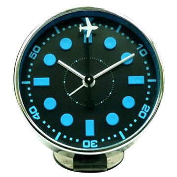 Bedside Analog Alarm Clock - Airplane Blue - Copper Finish, Round Frame