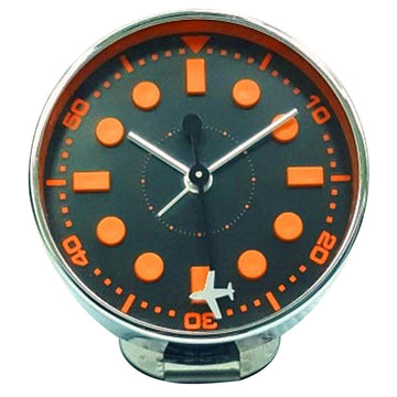 Bedside Analog Alarm Clock - Airplane Orange - Copper Finish, Round Frame