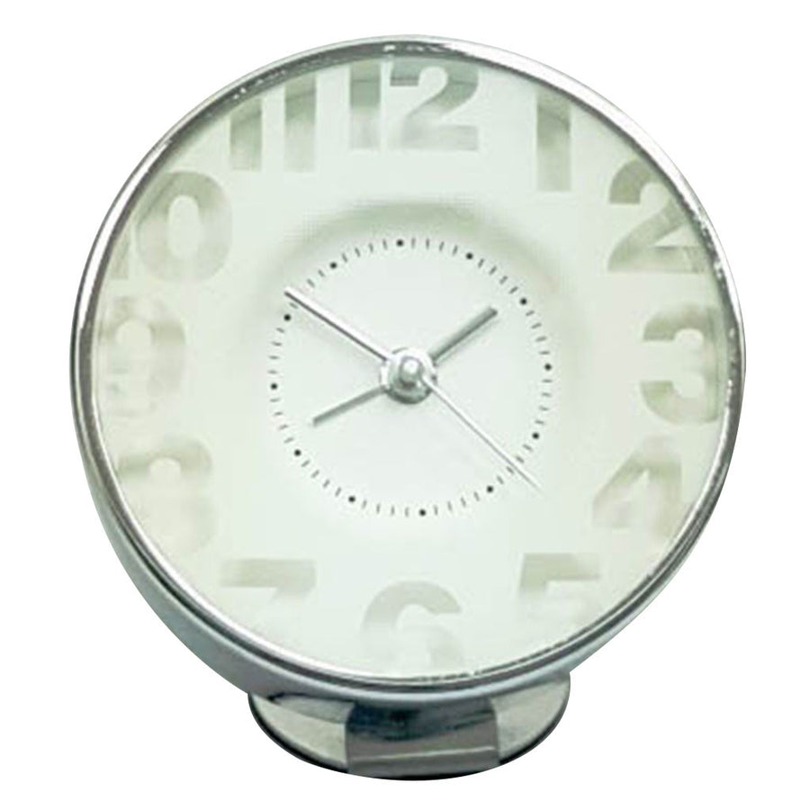 Bedside Analog Alarm Clock - White - Silver Finish, Round Frame