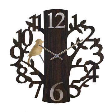 Pendulum Wall Clock - Forest Brown with Woodpecker