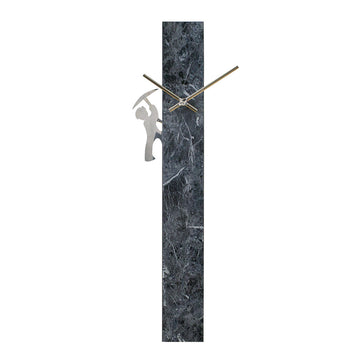 Pendulum Wall Clock Pillar - Marble Grey/ Coal Miner