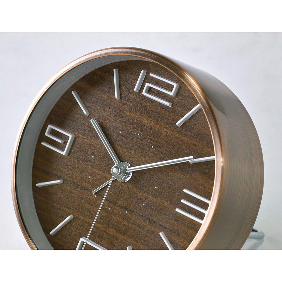 Bedside Analog Alarm Clock - Brown - Copper Finish, Round Frame