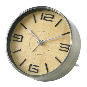 Bedside Analog Alarm Clock - Natural - Aluminum Finish, Round Frame