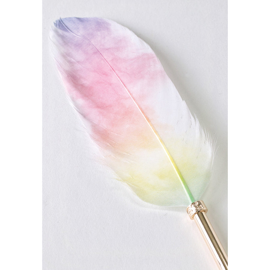 Feather Quill Ballpoint Pen & Stand Holder - Pink/Yellow
