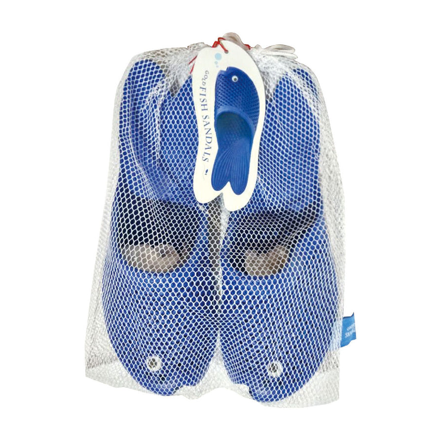 Fish Sandals - Blue - Soft EVA Slippers for Adults (size:women's 7~9)