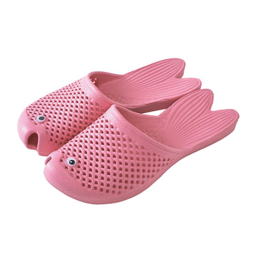 Fish Sandals - Pink - Soft EVA Slippers for Adults (size:women's 7~9)