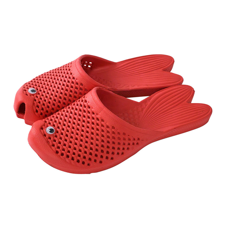 Fish Sandals - Red - Soft EVA Slippers for Adults (size:women's 7~9)