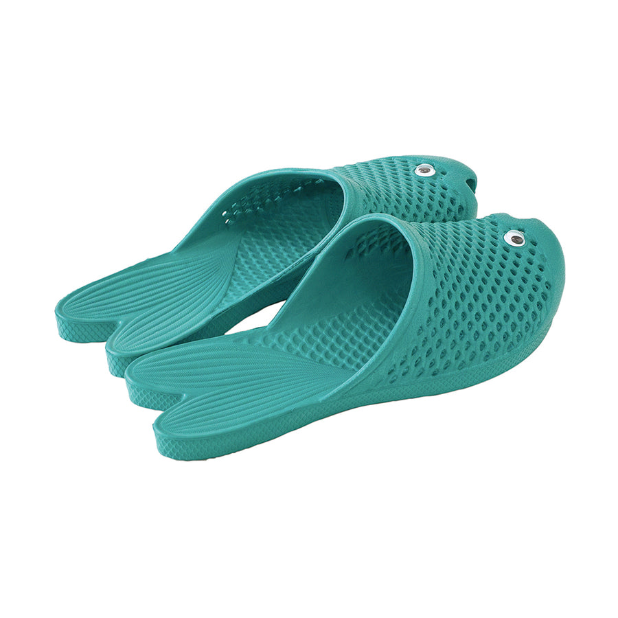 Fish Sandals - Turquoise - Soft EVA Slippers for Adults (size:women's 7~9)